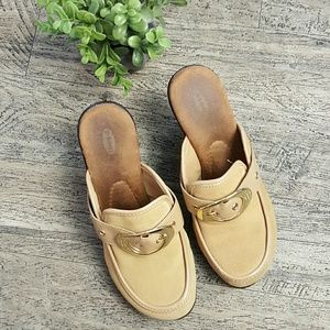 Dr. Scholl's RECITE suede leather clogs buckle 6.5